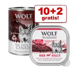 10 + 2 gratis! 12 x 300 / 400 g Wolf of Wilderness vådfoder - Strong Lands - Gris (12 x 400 g)