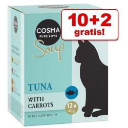 10 + 2 gratis! 12 x 40 g Cosma Soup - Tun & Kylling med Søde Kartofler