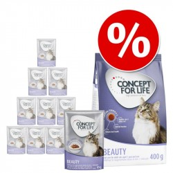 12 x 85 g Concept for Life vådfoder + 400 g tørfoder - Beauty - i gelé