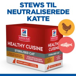 16x80g Young Adult Sterilised Healthy Cuisine portionspose Hill's Science Plan kattemad