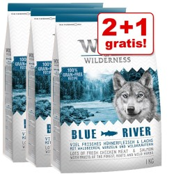 2 + 1 gratis! 3 x 1 kg Wolf of Wilderness tørfoder - Tha Taste Of The Outback