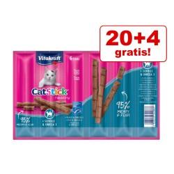 20 + 4 gratis! 24 x 6 g Vitakraft Cat Stick Healthy - Kalkun & lam
