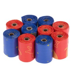 200 Stück Hundekotbeutel Mini , 10 Rollen à 20 Beutel, rot / blau mit Druckmotiven