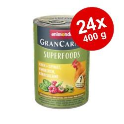 24x400g GranCarno Adult Superfoods - Kylling & spinat, hindbær, græskarfrø Animonda hundefoder våd