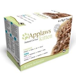6x70 g Applaws Kitten Kitten Mix: Sardin, kylling & tun Kattemad