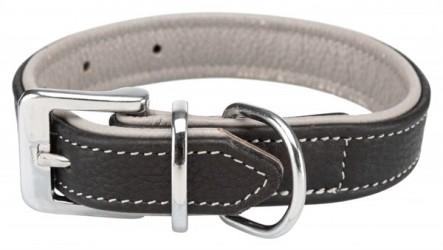 Active Comfort Læderhalsbånd, sort/grå, 52-63 cm