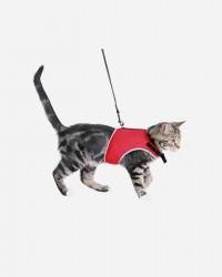 Blød kattesele med snor - 2 størrelser, Rød / M