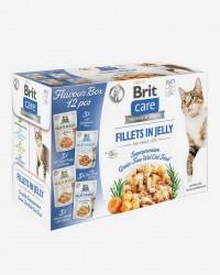 Brit Katte-Vådfoder - Smagsboks - Filet i Gele - 12 x 85 G