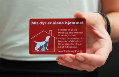 Dyrenes redningskort - kort til pungen - hvis du har dyr der er alene hjemme