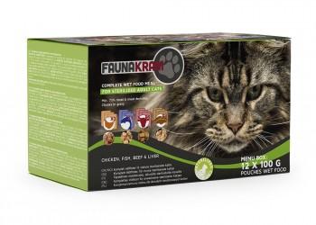 Faunakram 12 x 100 g Menubox til steriliserede katte - 4 forskellige smage