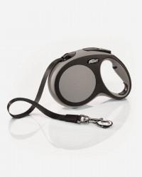 Flexi New Comfort Bånd - Soft Grip - Grå/Sort, Small 5m. max. 15kg