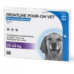 Frontline Pour-on Vet til hunde, 20 - 40 kg, 100 mg/ml. 6 x 2,68 ml.