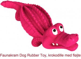 Gummi Toys, godt og solidt gummilegetøj, krokodille med fløjte: 243 mm X 74 mm, color purple