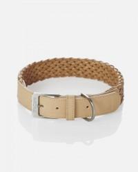 Halsbånd i flettet italiensk læder (beige) - Venezia, M/L: Halsmål (43-51 cm)