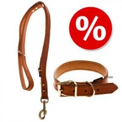 Heim Buffalo læderhalsbånd & hundesnor, cognac - Halsbånd str. 60 (halsomfang 45 - 55 cm) + snor 200 cm