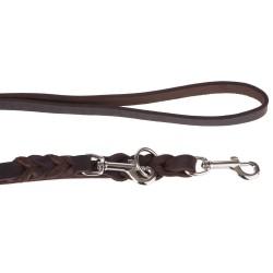 Heim dobbeltsnor af læder med indflettet karabinhage, 2,2m lang