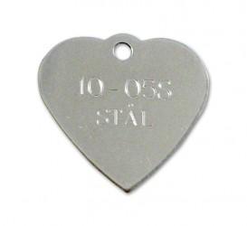 Hjerteformet Hundetegn i stål - 30 x 30 mm