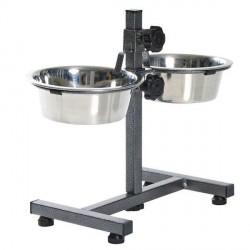 Hundebar med mad- og vandskål, justerbar, XSmall