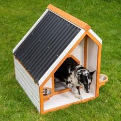Hundehütte mit Vorraum - Größe L: B 74 x T 97 x H 97 cm Hund