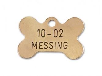 Hundetegn - Kødben i messing 30 x 20 mm