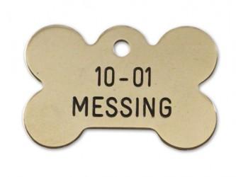 Hundetegn - Kødben i messing 37 x 25 mm