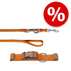 HUNTER Sæt: halsbånd London + hundesnor London, orange - Vario Plus str. L + snor 200cm/15mm Hund