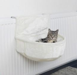 Hyggesæk i plys til katten, fastgøres til radiator