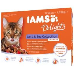Iams kattemad - Delights - Fisk og kød - 12 stk.