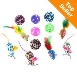 Kattelegetøjssæt med bolde & mus - Sæt med 12 dele