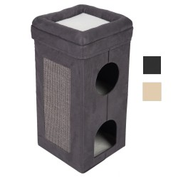 Kattetårn Soft'n Scratchy foldbart - Beige / hvid