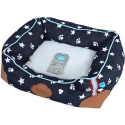 Lief hunde- eller katteseng - Blå med tryk