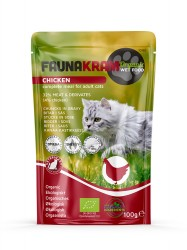 Økologisk vådfoder - Faunakram Organic Wet Food With Chicken, 100 g