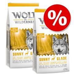 Økonomipakke: 2 x 12 kg Wolf of Wilderness - Mix: 2 varianter, Sunny Glade & Wild Hills