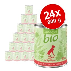 Økonomipakke: 24 x 800 g zooplus bio - økologisk hundefoder - Øko Laks & Øko Spinat (kornfri)
