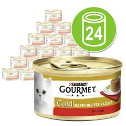 Økonomipakke: 24 x 85 g Gourmet Gold Raffineret Ragout - Okse & Kylling