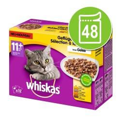 Økonomipakke: 48 x 100 g Whiskas 11+ Senior - Fjerkræ i gelé