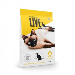 Probiotic Live Adult Duck - And til voksen kat - 8 kg