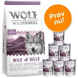 Prøvepris: 12 kg Wolf of Wilderness + 6 x 400 g / 6 x 800 g vådfoder - Junior: 12 kg Lam + 6 x 800 g Laks