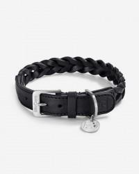 Robust halsbånd i flettet læder (sort) - Bergamo, S/M: (halsmål 35-41 cm)