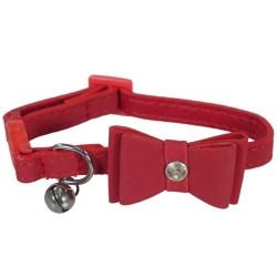 Rosewood kattehalsbånd med sløjfe - Rød