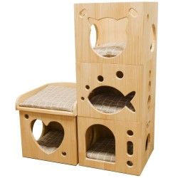 Rosewood kattetårn med fire moduler