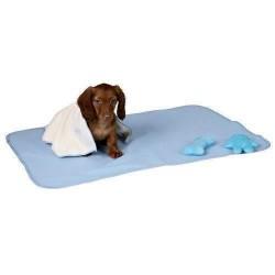 Sødt hvalpesæt med tæppe og legetøj, lyseblåt