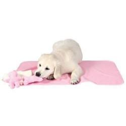 Sødt hvalpesæt med tæppe og legetøj, lyserødt