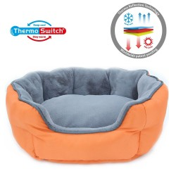 ThermoSwitch® Memory-Foam Hundeseng Santorini orange-grå - L: L 90 x B 70 x H 24 cm