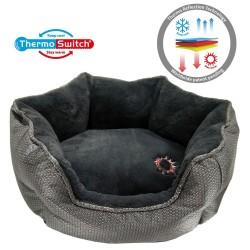 ThermoSwitch® Memory-Foam Hundeseng Santorini sølv-grå - S: L 45 x B 38 x H 20 cm