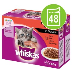 Whiskas Junior i portionspose 48 x 85 g / 100 g - Fjerkræ i sovs (48 x 100 g)